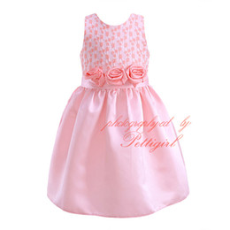 Pettigirl New Arrival Pink Princess Dresses With Rose Flower Sashes Fashion Geometric Pattern A-line Dresses Boutique Clothes DMGD81020-3L