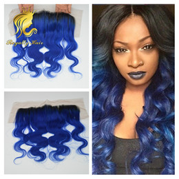 Indian 1b blue body wave Lace Frontal Closure With Baby Hair 13X4 Human Hair Lace Frontal Closure Fast Shipping