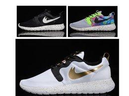 Wholesale Women Lightweight HYP QS M White Black gold Runs roshe run shoes Mens camo roshe running shoes Womens London Olympics