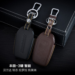 Genuine Leather Car Key Case Cover 3 Buttons Smart For 2015 TOYOTA Camry  Highlander MARK X COROLLA Car Key Holder Car Key Accessorie