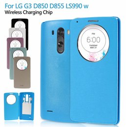 Wholesale Auto wake sleep Quick Circle Window Smart Leather Battery Door Housing Cover for LG G3 D850 D855 LS990 With Wireless Charging Chip