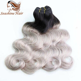 2016 Cheap Human Ombre Grey Hair Weave 3Pcs Lot Hair Extensions Brazilain Ombre Two Tone Color #1B Grey Straight Hair Weave Hair Extensions