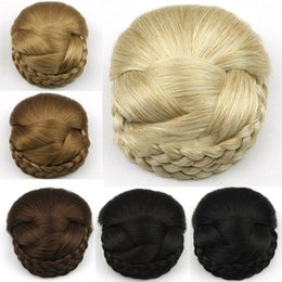 Wholesale 1pcs Synthetic Beige Gold Black Brown Dome Braided Chignon Knitted Twist Styles Hair Bun Hairpiece Hair extension Donut Roller Hair