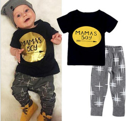 Free shipping 0-24M Toddler Baby Infant Mamas Boys Jumpsuit 2Pcs Outfit Sets Romper Newborn