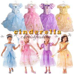 Wholesale Sleeping Beauty Dress Wholesale - Kids baby sleeping beauty Rapunzel snow white Cinderella belle frozen princess children party costume dress girls tutu ball gown Z571-B