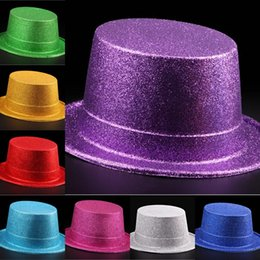 Wholesale 2016 Newest Adult Party Powder Halloween Hat Magician Performance Show Jazz Flat Hat Festive Supplies Online Store