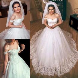 Wholesale Romantic Arabic African Country Wedding Dresses A Line Off Shoulder Lace Appliques Beaded Plus Size Cheap Modest Gothic Bridal Gowns