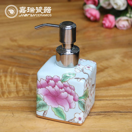 Wholesale 150ml Beautiful Hand Painted Ceramic liquid soap dispenser Porcelain hand soap dispenser Household Items bathroom Lotion holder