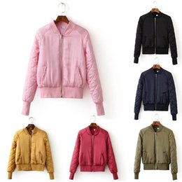 Wholesale Candy Colors V Neck Quilting Quilted Jacket Short Thin Padded Baseball Bomber Coat Pilots New Trendy Women Outerwear Top Color