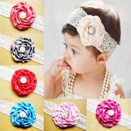 2015 Infant Flower Pearl Headbands Girl Lace Headwear Kids Baby Photography Props NewBorn Bow Hair Accessories Baby Hair bands 14 color