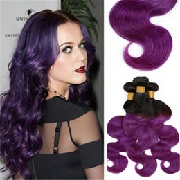 Brazilian Virgin Hair Body Wave spring queen hair Human 1B Purple Human Hair Extensions Ombre Brazilian Virgin Hair 4 bundle deals freeship