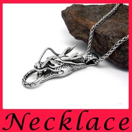 2016Zodiac Dragon Pendant Titanium Steel Men Leading Necklace Pendant Imitation SP164 Thai Silver Style
