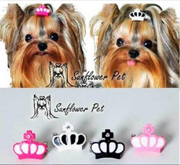 Wholesale New Pet Accessories resin crown clip Dog Bows Dog Grooming Hair Bows Doggie Pet Gifts hair clip Xi shi Yorkshire dog hair
