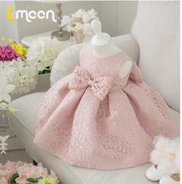Elegant Pink white Girl Summer Dresses for Wedding Flower Girl Dress Party Princess Baby Girl Birthday Dress with Big Bow 1-12T