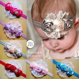 Wholesale 2016 hot sale baby newborn infant ribbon roses girl rhinestone headband lace flower headband Children girls hair accessories