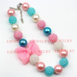 fashion jewelry pink bowknot pendant blue and white pearl&rhinestone beads chunky girl bubblegum kids Necklace