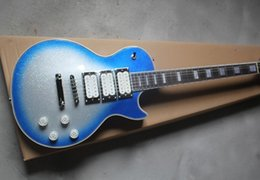 Hot Wholesale metal silver blue burst maple top mahogany body 3 pickup Ace Frehley Signature electric guitar free shipping