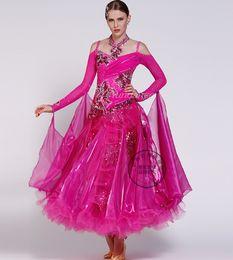 rose red customize Fox trot ballroom Waltz tango salsa Quick step competition dress
