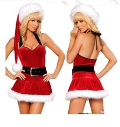 Sexy Disfraces Sexy Christmas Costumes Winter Red white Womens Underwear Lace Xmas Party Performance Cosplay Babydoll Lingerie Sleepwear
