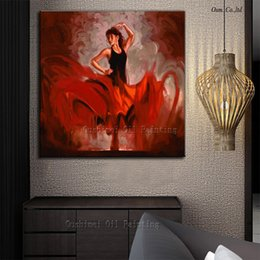 Wholesale Beautiful Colors Hangs On Wall Dancer Oil Painting Handmade Abstract Spanish Lady Dancer Oil Paintings On Canvas