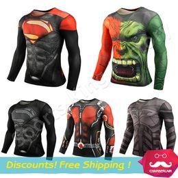 Wholesale Fitness Long Sleeve shirts Sport Fitness Compression Shirt Men Superman Bodybuilding Long Sleeve D T Shirt Gym Crossfit Running Tops