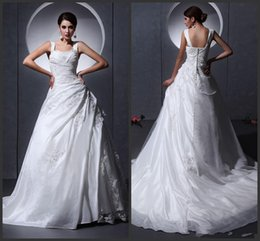 Wholesale Taffeta Tulle Ruffle Applique Baldric Chapel A Line Bridal Gown A line Wedding Dresses a386