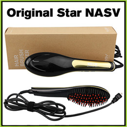 Wholesale 100 Genuine Beautiful Star Nasv Hair Straightner Brush Comb Hair Brush Straightening Irons Straight Hair Styling Tool