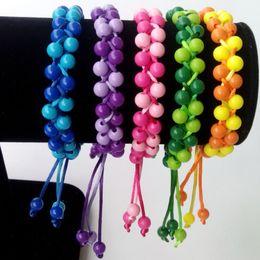 100% Hand-woven Fashion Jewelry Braided Acrylic Beads Woven Wristband Bracelets & Bangles for Women