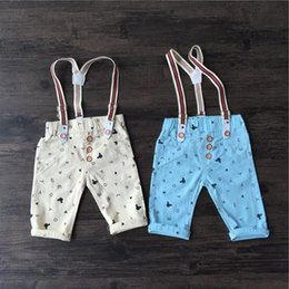 Wholesale Hug Me Boys Shorts Suspender Thouser Children s New Summer Cotton Mickey England Style Denim Pants MK