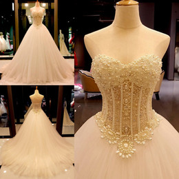 Modest Long A Line Wedding Dresses Elegant Pearls Beaded Sweetheart Sexy Bridal Gowns 2019 Luxury Dress