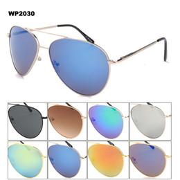 Compra Online Lente de espejo-Gafas de sol de gran tamaño piloto conducir los hombres del marco 100% UV400 gafas de sol de cobre con la bisagra del resorte del matel y lente de espejo