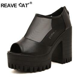 Plate-forme de style européen Couverture solide talon Peep toe talon Plaine Carré Casual Mode femme chaussures Noir Blanc Taille 35-39 ZL071 à partir de chaussures simples talons fabricateur