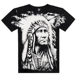 Cotton T-shirt Short Sleeve T-shirt Men's Clothing Wholesale Explosion Indian Chiefs Pattern Fashion Men's Clothings