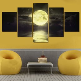 5 panels Night and full moon at night The Abstract Modern Home Wall Decor Painting Canvas Art Print Canvas Picture Unframed Free Shipping