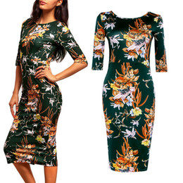 Wholesale New Vintage Sheath O Neck Half Sleeve Green Print Autumn Stain Woman Dress Work Office Pencil Bodycon Shirt Dress Robe Sexy FS0390
