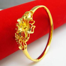 Do not fade gold bracelet imitation 999 gold 24K gold bracelet female flowers wedding jewelry gold copper