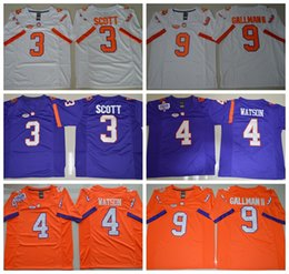 Wholesale NCAA Clemson Tigers College Jerseys Football DeShaun Watson Jersey Purple Orange White Color Wayne Gallman II Artavis Scott