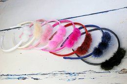 15% off! 2016 HOT SALE! Rabbit Fur Hairy Pompom hair bows Lovely fashion boutique hair bow Girls hair accessories 10 colors 30pcs lot