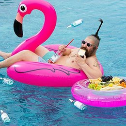 Wholesale 120CM Giant Swan Inflatable Flamingo Float New White And Pink Swan Inflatable Floats Swimming Ring Raft Swimming Pool Toys For Adult LC392