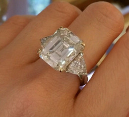 Wholesale 12 ct Center Emerald cut Three stone Diamond Engagement Ring in Platinum C800