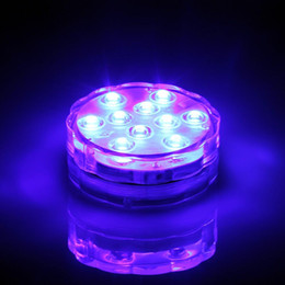 16 Static Clolors 10 LEDs RGB Submersible Floral Under Vase Light Base With 3AA Replaceable Battery Powered For Wedding Centerpiece Decor