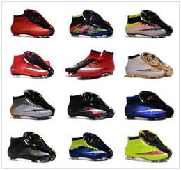 Altos tops hombres 45 en Línea-Hombres Mercurial Superfly 4 FG Calzado de fútbol ACC 100% originales botas de alta Top Size CR7 grapas del fútbol láser zapatillas de deporte 39-45 Eur