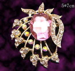 Wholesale Women Gold plated flower Zinc alloy crystal rhinestone Brooches costume jewelry Free shipping 12pcs lot mixed color BH666