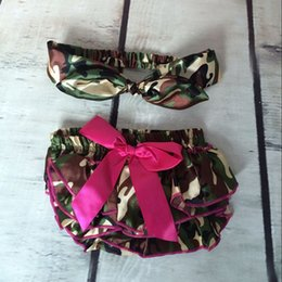 Satin Camo baby bloomers cute newborn outfit bloomer matching headband baby clothes baby diaper cover with bow
