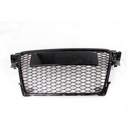 Wholesale 09 A4 Black Painted ABS Front Bumper Honey mesh Grill Grille With Parking Sensors for Audi A4 S4 RS4 B8 K Avant