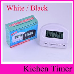 Wholesale BK Timer Kitchen Cookng Minutes Digital LCD Alarm Clock Medication Sport Countdown Calculator timers with Clip Pad White Black