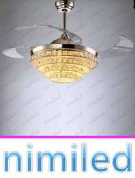 Wholesale nimi837 quot quot quot Invisible LED Crystal Ceiling Fan Lamp Living Room Restaurant Pendant Lights Villas Chandelier Remote Control