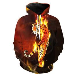 Free Shipping US Size M-5XL High Quality New Fall Fashion Custom 3D Digital Printing Tiger Burning Hooded Sweatshirt Sweater