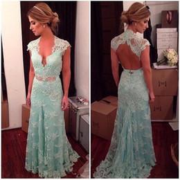 Light Green Lace Sexy Mermaid Evening Dress 2016 Open Back Deep v Neck Cap Sleeve Crystal Sash Prom Dress Sweep Train Elegant Party Dress