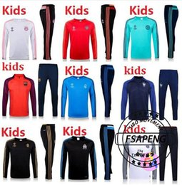 Wholesale 2016 real madrid Tracksuits top quality Training suit BENZEMA JAMES BALE kids PSG juve Atletico Madrid Chelsea football Tracksuits